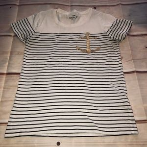J. Crew Striped Anchor T-Shirt Collector Tees XS
